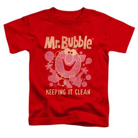 Mr Bubble Keeping It Clean Short Sleeve Toddler Tee Red T-Shirt