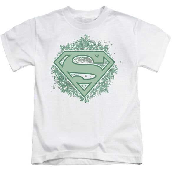 Superman Ornate Shield Short Sleeve Juvenile White T-Shirt