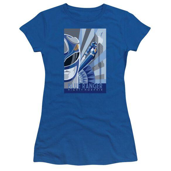 Power Rangers Ranger Deco Short Sleeve Junior Sheer Royal T-Shirt