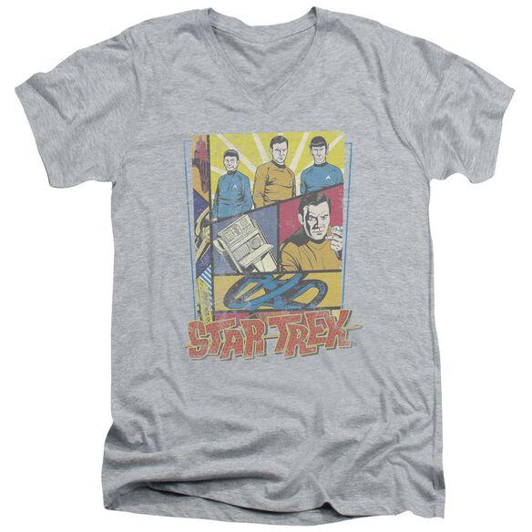 Star Trek Vintage Collage Short Sleeve Adult V Neck Athletic T-Shirt
