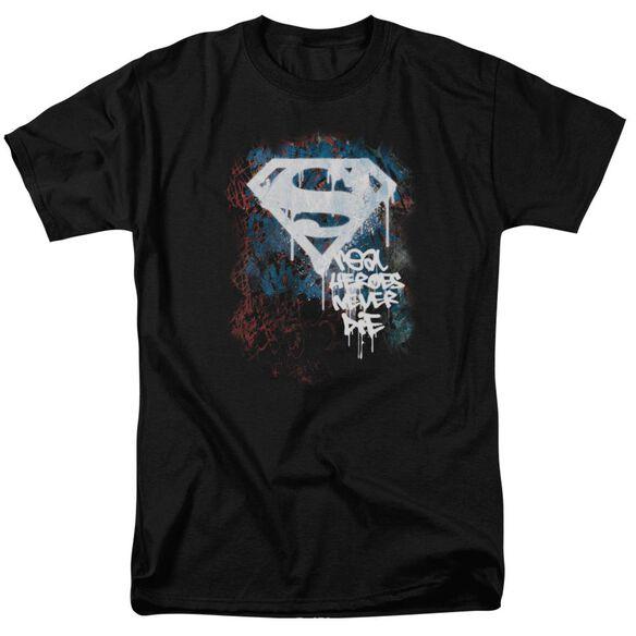 Superman Real Heroes Never Die Short Sleeve Adult T-Shirt