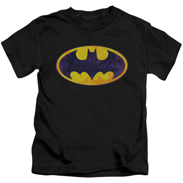 Batman Bm Neon Distress Logo Short Sleeve Juvenile Black T-Shirt