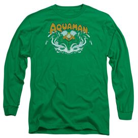 Dc Aquaman Splash Long Sleeve Adult Kelly T-Shirt