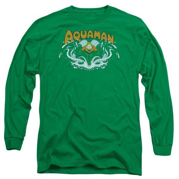 Dc Aquaman Splash Long Sleeve Adult Kelly T-Shirt