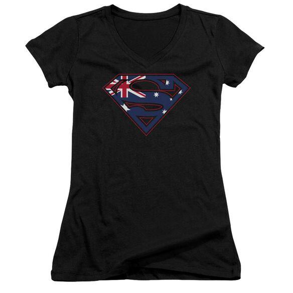 Superman Australian Shield - Junior V-neck - Black