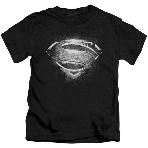 Man Of Steel Contrast Symbol Short Sleeve Juvenile Black T-Shirt
