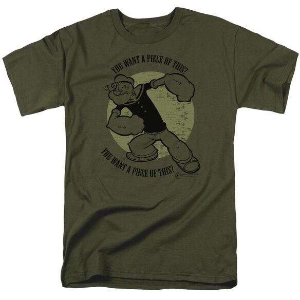 Popeye You Want A Piece Short Sleeve Adult Military Green T-Shirt