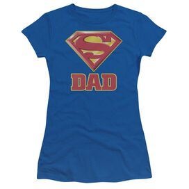Superman Super Dad Short Sleeve Junior Sheer Royal T-Shirt