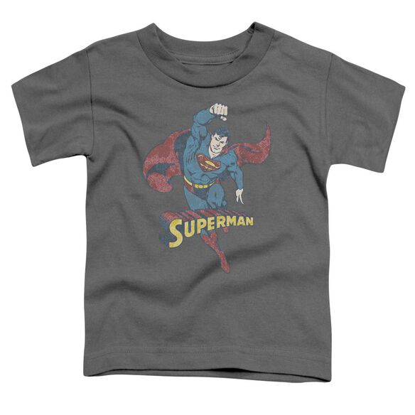 Dco Desaturated Superman Short Sleeve Toddler Tee Charcoal Lg T-Shirt