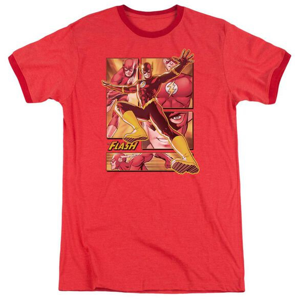 Jla Flash Adult Heather Ringer Red