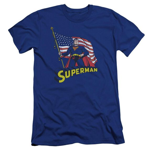 Superman American Flag Premuim Canvas Adult Slim Fit Royal