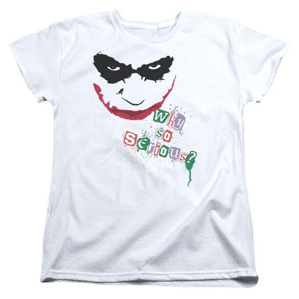 Dark Knight Too Serious Short Sleeve Womens Tee White T-Shirt