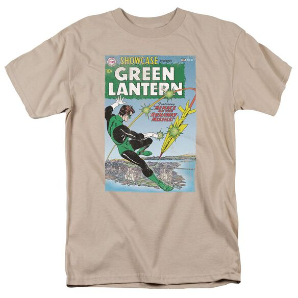 Green Lantern Menace Missle Short Sleeve Adult Sand T-Shirt