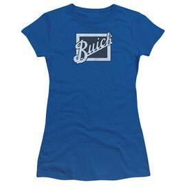 Buick Distressed Emblem Short Sleeve Junior Sheer Royal T-Shirt
