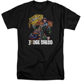 Judge Dredd Bike And Badge Short Sleeve Adult Tall T-Shirt