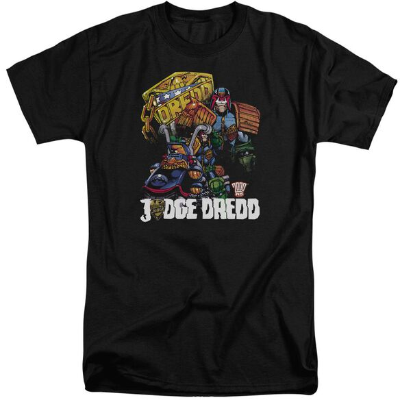 Judge Dredd Bike And Badge Short Sleeve Adult Tall T-Shirt