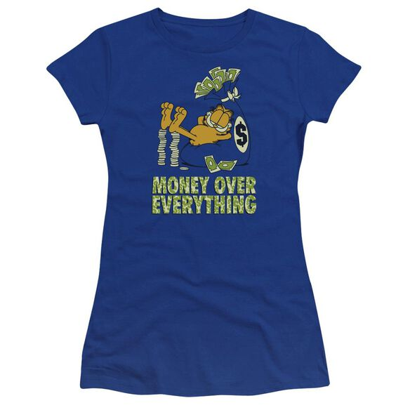 Garfield Money Is Everything Premium Bella Junior Sheer Jersey Royal