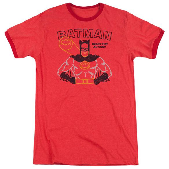 Batman Ready For Action Adult Heather Ringer Red