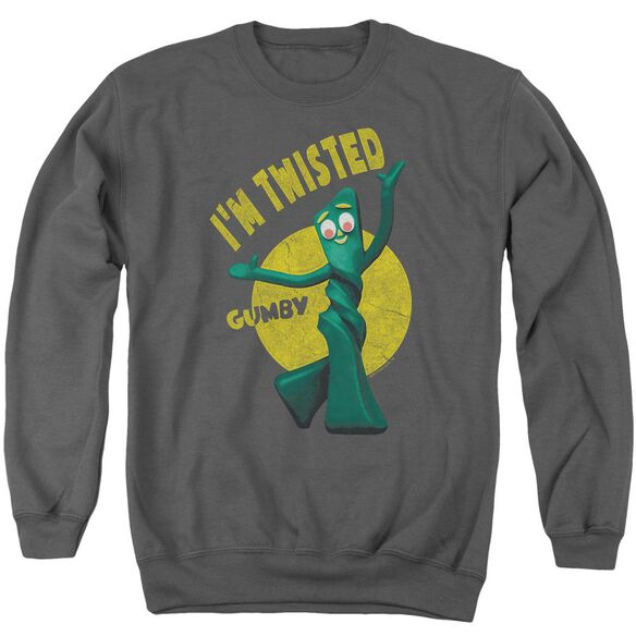 Gumby Twisted - Adult Crewneck Sweatshirt - Charcoal