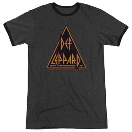 Def Leppard Distressed Logo Adult Heather Ringer Charcoal