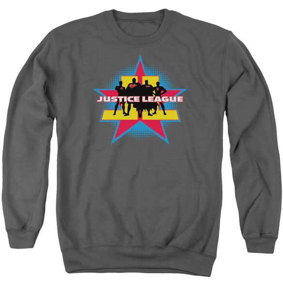 Jla Stand Tall Adult Crewneck Sweatshirt
