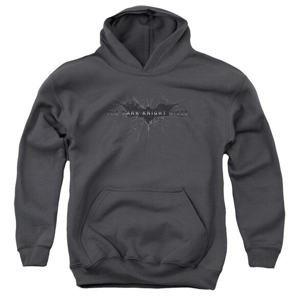 Dark Knight Rises Scratched Logo Youth Pull Over Hoodie