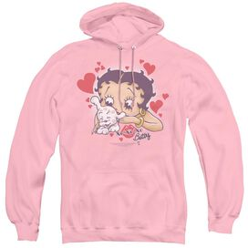 Betty Boop Puppy Love - Adult Pull-over Hoodie - Pink