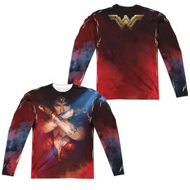 Wonder Woman Movie Arms Crossed (Front Back Print) Long Sleeve Adult Poly Crew T-Shirt