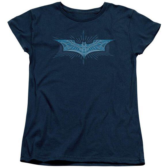 Dark Knight Bat Armor Logo Short Sleeve Womens Tee Navy T-Shirt