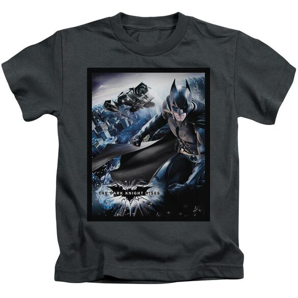 Dark Knight Rises Batwing Rises Short Sleeve Juvenile Charcoal T-Shirt