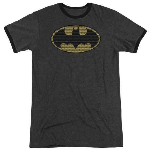 Batman Little Logos Adult Heather Ringer Charcoal