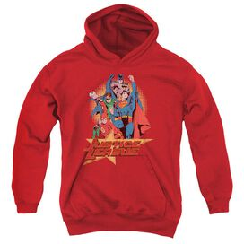 Jla Raise Your Fist-youth Pull-over Hoodie - Red