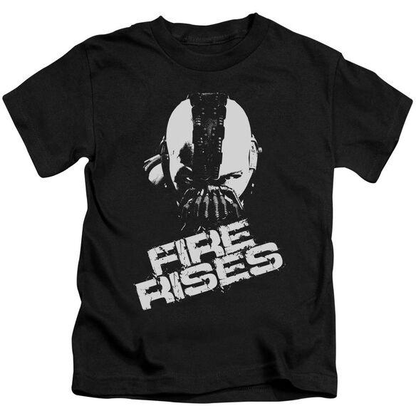 Dark Knight Rises Fire Rises Short Sleeve Juvenile Black T-Shirt