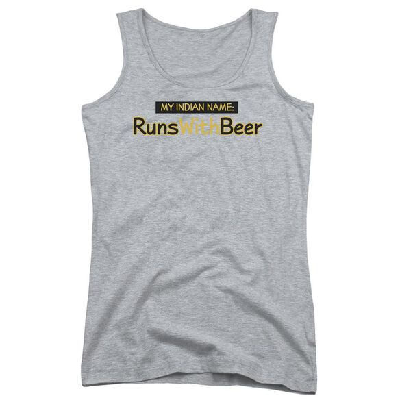 Runs With Beer Juniors Tank Top Athletic