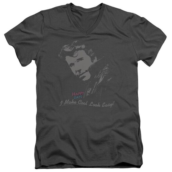 Happy Days Cool Fonz Short Sleeve Adult V Neck T-Shirt