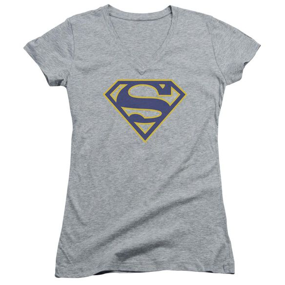 Superman Maize & Blue Shield Junior V Neck Athletic T-Shirt