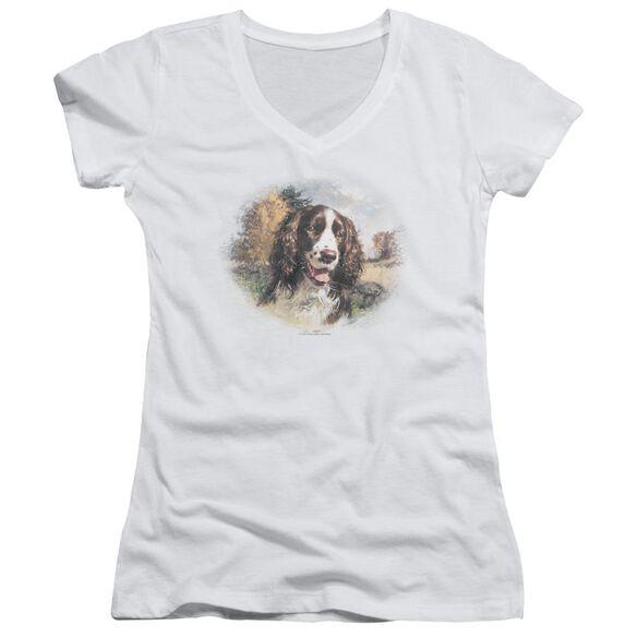 Wildlife Springer Spaniel Head Junior V Neck T-Shirt