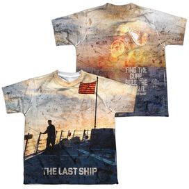 Last Ship Searching (Front Back Print) Short Sleeve Youth Poly Crew T-Shirt