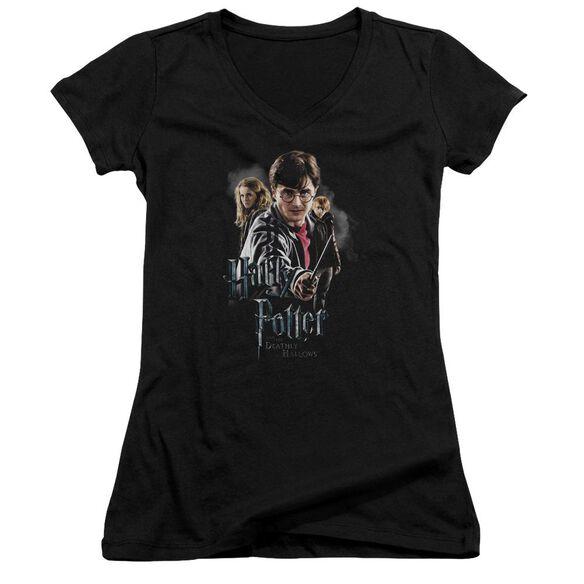Harry Potter Deathly Hollows Cast Junior V Neck T-Shirt
