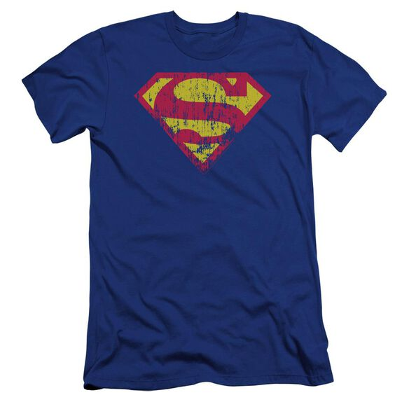 Superman Classic Logo Distressed Premuim Canvas Adult Slim Fit Royal