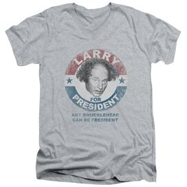 Three Stooges Larry For President Short Sleeve Adult V Neck Athletic T-Shirt