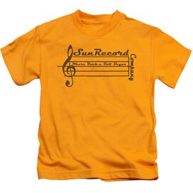 Sun Records Music Staff Short Sleeve Juvenile Gold T-Shirt