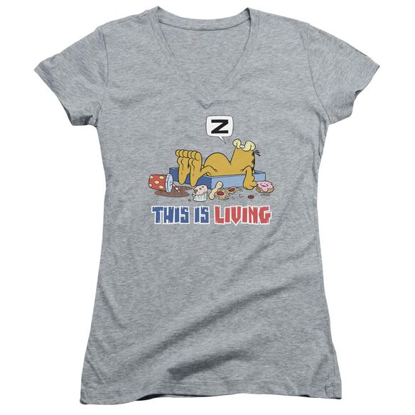 Garfield This Is Living Junior V Neck Athletic T-Shirt