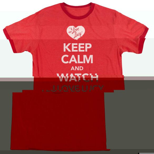 I Love Lucy Keep Calm And Watch - Adult Heather Ringer - Red
