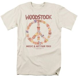 Woodstock Floral Peace Short Sleeve Adult Cream T-Shirt