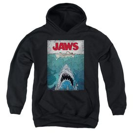 Jaws Lined Poster Youth Pull Over Hoodie