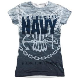Navy Force For Good Short Sleeve Junior Poly Crew T-Shirt