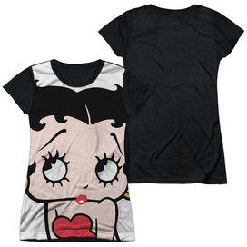 Betty Boop Big Boop Head Short Sleeve Junior Poly Black Back T-Shirt