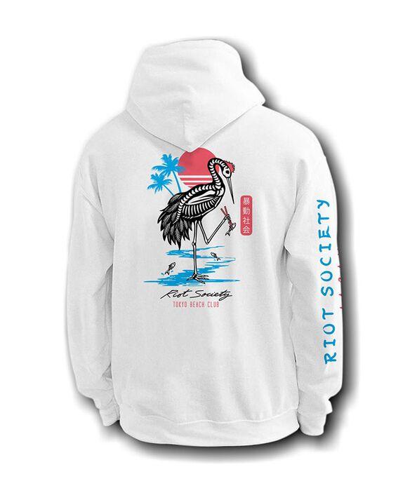 Riot Society - Tokyo Beach Club Skeleton Crane White Hoodie