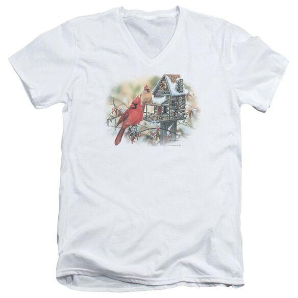 Wildlife Cardinals Rustic Retreat Short Sleeve Adult V Neck T-Shirt